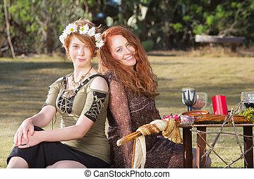 Pair of Smiling Pagan Women - Pair of smiling women at...