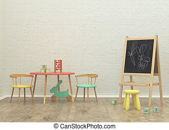 kids game room interior 3d rendering image with board and...