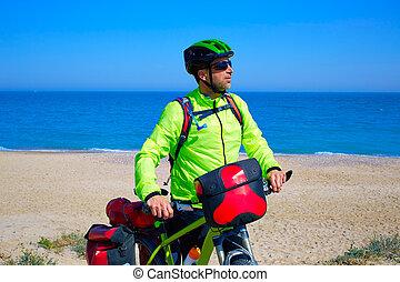 ciclismo, turista, Ciclista, en, Mediterráneo, playa,...