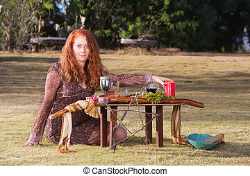 Beautiful Pagan Priestess - Caucasian priestess in outdoor...