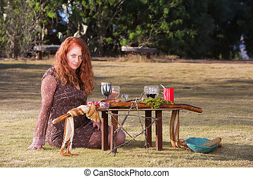 Pagan Priestess at Altar with Wine - Beautiful priestess in...