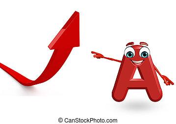 Cartoon Character of alphabet A with arrow