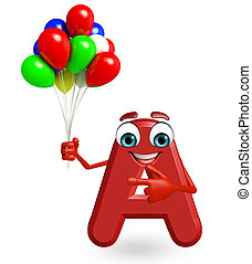 Cartoon Character of alphabet A with balloons
