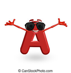 Cartoon Character of alphabet A with goggles