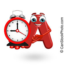 Cartoon Character of alphabet A with clock