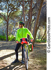 MTB Biker Bicycle touring in a pine forest with pannier...
