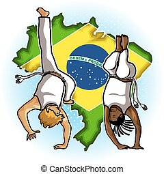 Brazilian Martial Art Capoeira - Brazilian People Playing...
