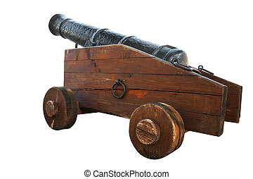 cannon - An ancient rusty cannon Isolated on white, with...