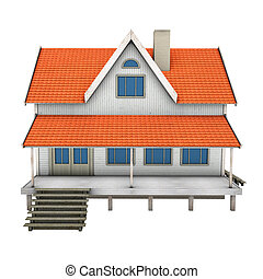 family house - New private family house 3d illustration,...