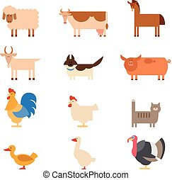 Farm animals - Vector image of a collection of farm animals