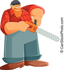 Woodcutter - Vector image of a Woodcutter with his saw