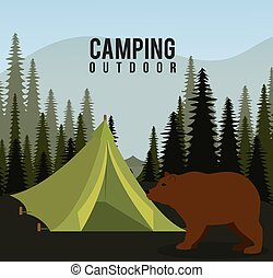Camping, travel and vacations - Camping design over...