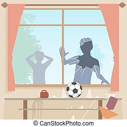 Football breaks window - EPS8 editable vector illustration...