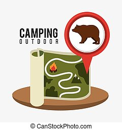 Camping, travel and vacations - Camping design over white...