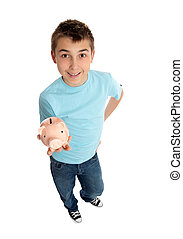 Casual boy holds a money box in palm of hand