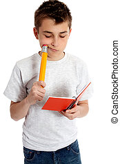 Child with notebook and pencil - A child with a snall...
