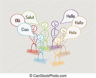 hello in many languages with many people, international...