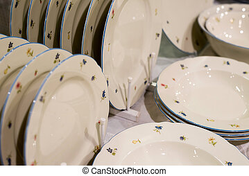 pile stack of clean washed plates - pile stack of clean...