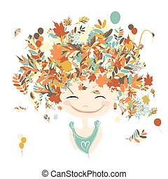 Female portrait with autumn hairstyle for your design