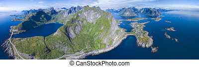 Lofoten - Panoramic aerial view of Reine and scenic road on...