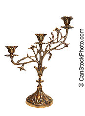 candlestick - bronze candlestick for three candles isolated...