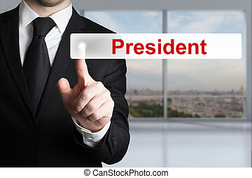 businessman pushing flat button president - businessman in...
