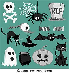 Set of Halloween cartoon icons