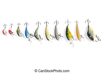 Fishing baits - Fishing lure on white backbround