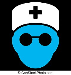 Medic Head Icon - Medic Head vector icon Style is bicolor...