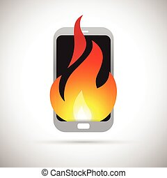 Phone on Fire - Vector illustration of a smartphone on fire.