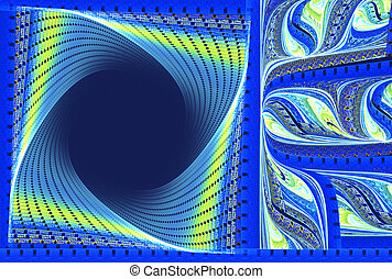 illustration of a fractal background frame blue spiral