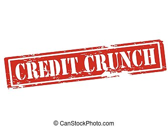 Credit crunch - Rubber stamp with text credit crunch inside,...