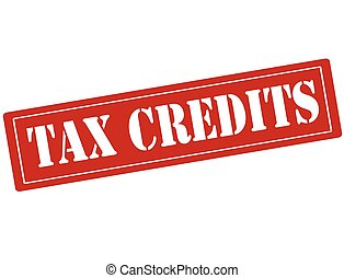 Tax credits - Rubber stamp with text tax credits inside,...