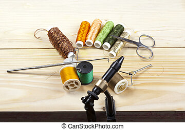 fishing tackle - Photograph of an assortment of old and used...