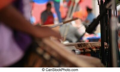 Drummers from Africa playing in unison