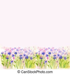 Watercolor Wild Flower Vector Borderters - Watercolor Wild...