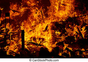 Fallas fire burning in Valencia fest at March 19 th Spain...