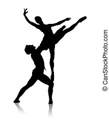 Dances - Black silhouette of dancing couple on a white...