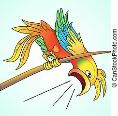 illustration bright parrot yells about news which his its...