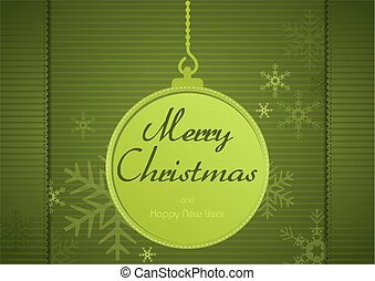 Green Xmas Greeting - Green Christmas Greeting Card with...