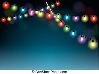 Christmas Lights Background - Holiday Multicolored...