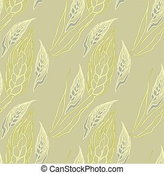 Yellow seamless pattern with ears of wheat. Vector pencil...