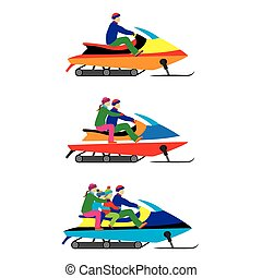 People, family on a Snowmobile. Winter sports. Illustration,...