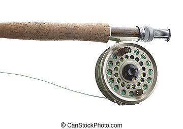 Fly fishing rod and reel with a silver popping bug