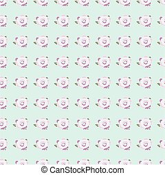 pink roses seamless on blue background