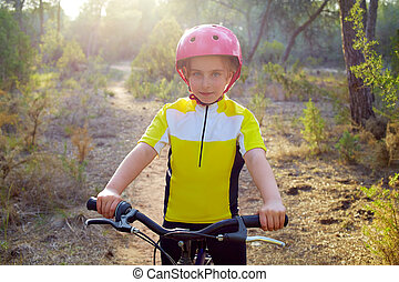 girl biker in mountain bike MTB - kid girl biker in mountain...