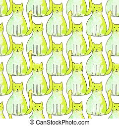 Seamless pattern with cartoon cats. Hand-drawn background. Vector illustration.