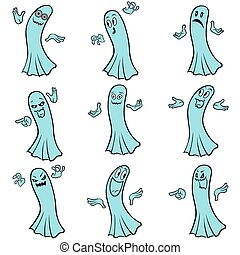 Set of nine blue ghosts