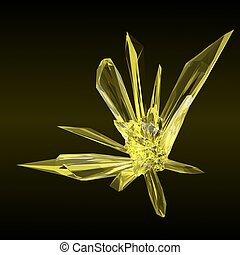 Yellow Crystal - 3d rendered yellow crystal isolated on...