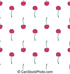 Cherries. Seamless pattern with berries. Real outline drawing. Vector illustration.